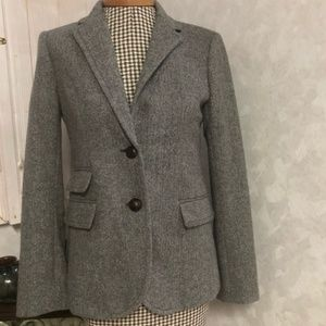 J.Crew Grey Herringbone Wool Hacking Jacket Blazer